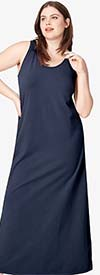 Catherines T80499W-Navy - Women PlusSize Maxi Sleeveless Dress In Woven Fabric