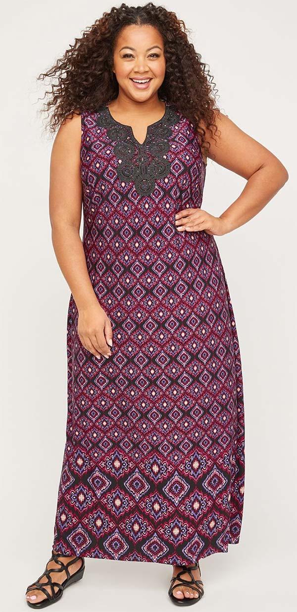 Catherines T80500WA-Black / Pink - Womens Stretch Crochet Design Printed Maxi Dress