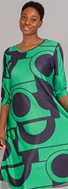 Dududai 641148-Green/Black - Three-Quarter Sleeve Womens Print Design Midi Dress