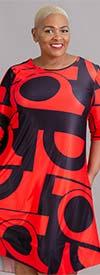 Dududai 641148-Red/Black - Three-Quarter Sleeve Womens Print Design Midi Dress