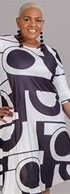 Dududai 641148-White/Black - Three-Quarter Sleeve Womens Print Design Midi Dress