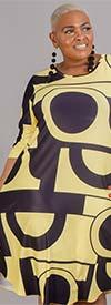 Dududai 641148-Yellow/Black - Three-Quarter Sleeve Womens Print Design Midi Dress