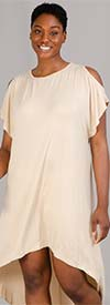 Fashion Apparel FT80032-Beige - Ladies Cold Shoulder Jersey Knit High-Low Dress