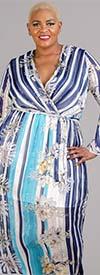 Fig & Vine 9123122 - Womens Bell Sleeve Dress in Striped Floral Print Design