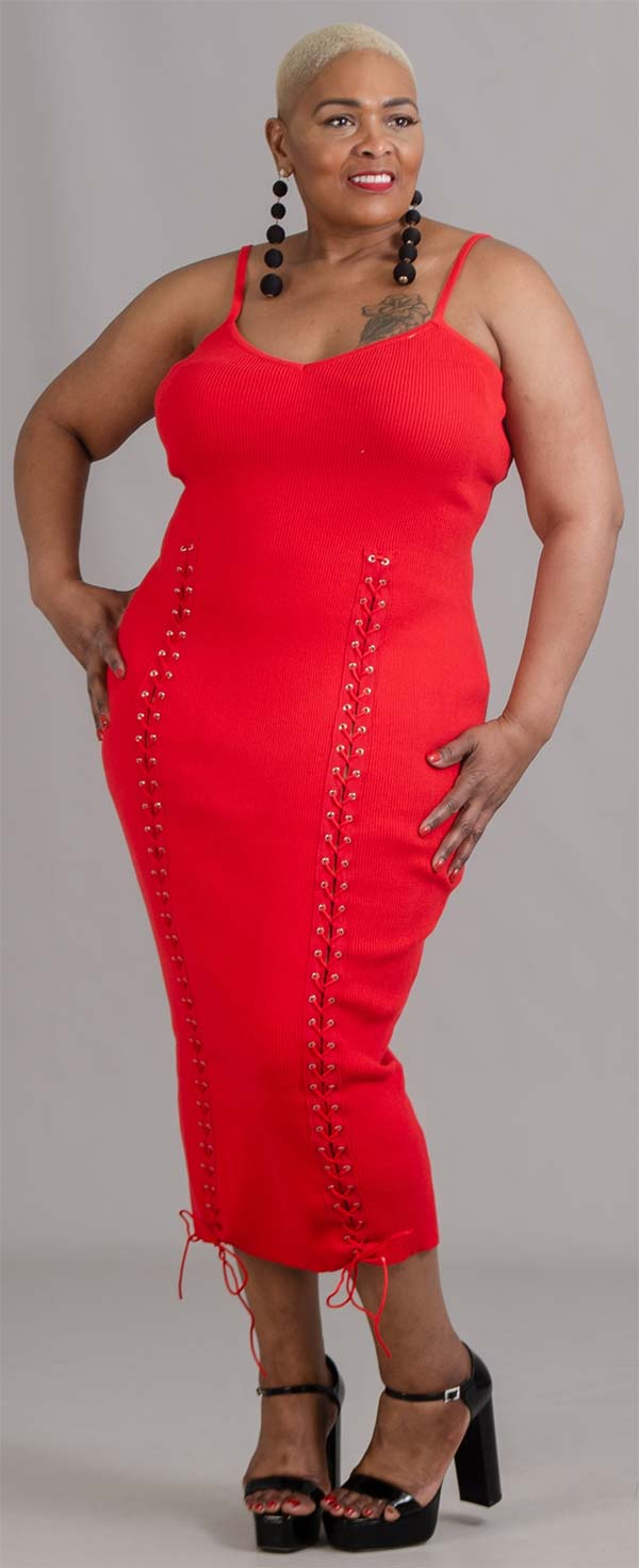 Highlight CH2022X - Womens Ribbed Fabric Dress With Stitched Lacing Detail