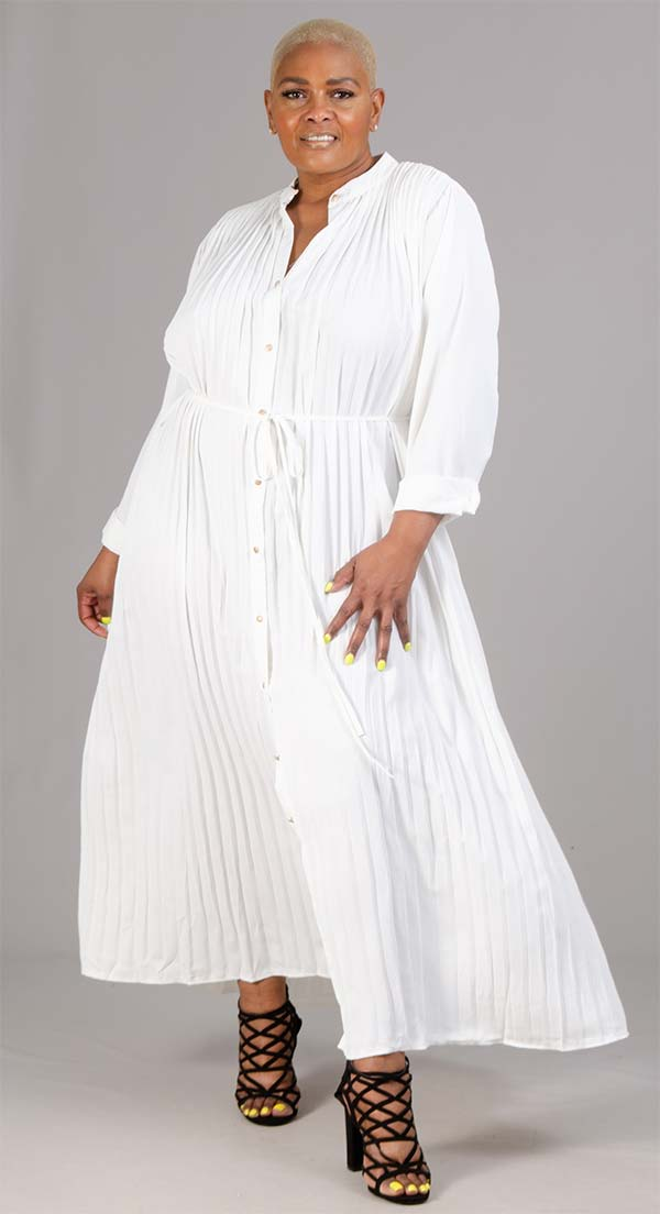 Highlight JS72620X - Womens Button Front Pleated Maxi Dress