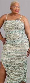 Highlight SND09-Green - Womens Midi Dress In Cash Money Print Design With Side Slit