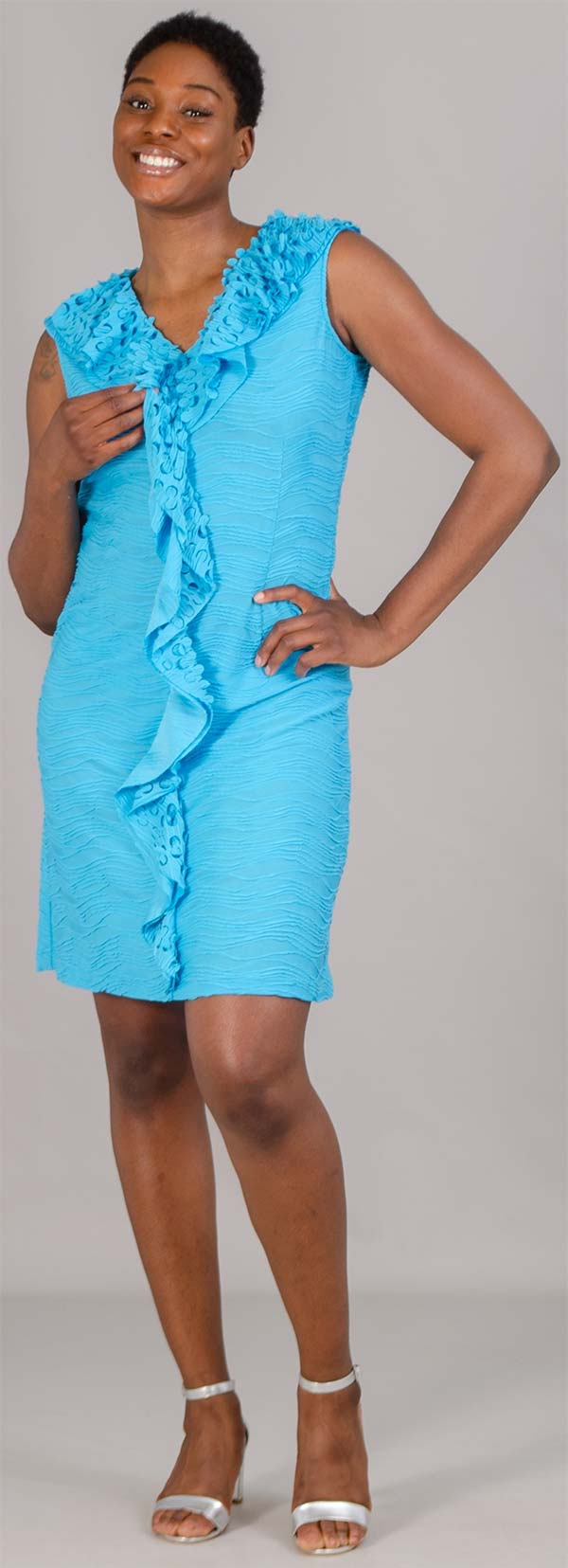JerryT-SR1562 - Womens Sleeveless Knit Dress With Ruffle Trim Design