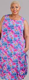 Kaktus 2011038 - Womens Sleeveless Convertible Side-Tie Dress in Floral Print Design