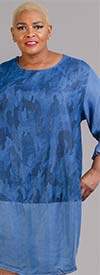 Kaktus 204369 - Womens Roll-Tab Sleeve Dress in Print Colorblock Design