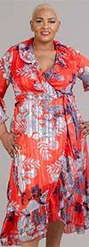 Kaktus 91277-Red - Womens Bell Sleeve Ruffled Mock Wrap Dress in Floral Print Design