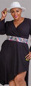 KaraChic 454S-Black - Womens Mock Style Dress With Flounce Cuff Sleeves