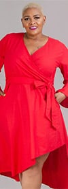KaraChic 454S-Red - Womens Mock Style Dress With Flounce Cuff Sleeves