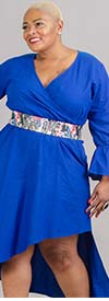 KaraChic 454S-Royal - Womens Mock Style Dress With Flounce Cuff Sleeves