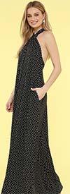 KarenT-9012-Black - Halter Style Womens Maxi Dress