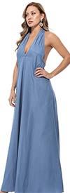 KarenT-9012-Light Denim - Halter Style Womens Maxi Dress
