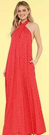 KarenT-9012-Red - Halter Style Womens Polka-Dot Maxi Dress