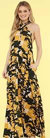 KarenT-9012-Yellow Camo - Halter Style Womens Camouflage Print Maxi Dress