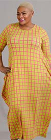 KaraChic CHH19010-Pink/Green - Grid Print Knit Maxi (Long) Dress
