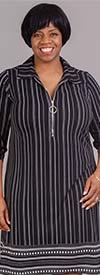 Mlle Gabrielle 120644 - Pinstripe Print Design Womens Cinch Sleeve Dress