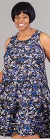 Mlle Gabrielle 120872 - Camouflage Print Flounce Tier Design Womens Sleeveless Dress