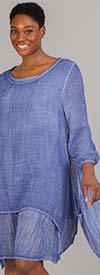 Omango CHT20-Blue - Womens Overlay Style Dress With Wide Neckline