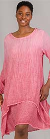 Omango CHT20-Coral - Womens Overlay Style Dress With Wide Neckline