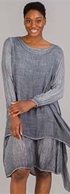 Omango CHT20-Gray - Womens Overlay Style Dress With Wide Neckline