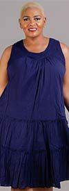 OSO Casuals 51075X22-Navy - Womens Tiered Gauze Design Sleeveless Dress