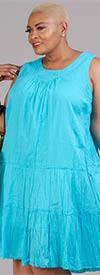 OSO Casuals 51075X22-Turquoise - Womens Tiered Gauze Design Sleeveless Dress