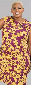 Shelby & Palmer 9J833 - Cap Sleeve Side Gathered Dress With Keyhole Neckline In Status Print