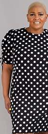 Shelby & Palmer 9P911W - Womens Drawstring Sleeve Dress In Polka Dot Print