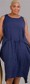 Vasna 201633X54 - Womens Linen Dress With Front Or Back Tie Design