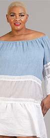 Vasna 201794X54 - Womens Colorblock Tier Design Gauze Dress