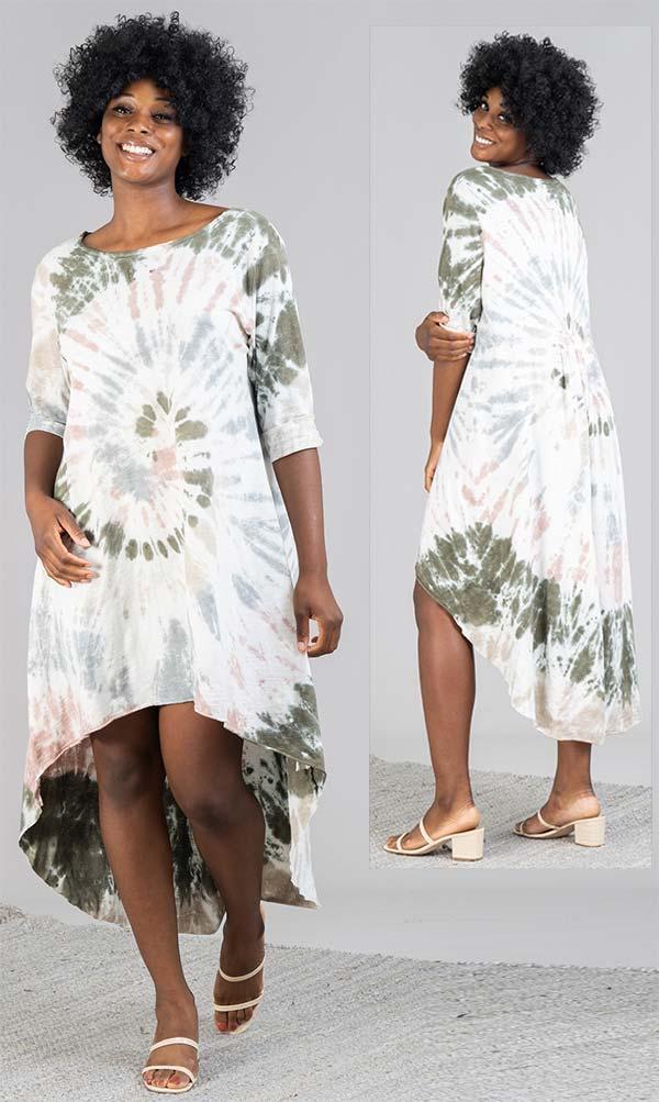 Vasna 20195854-Black / Multi - Womens Tye-Dye High-Low Design Dress