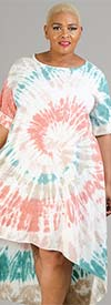 Vasna 201958X54-Coral / Multi - Womens Tye-Dye High-Low Design Dress