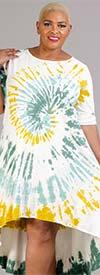 Vasna 201958X54-Mustard / Multi - Womens Tye-Dye High-Low Design Dress