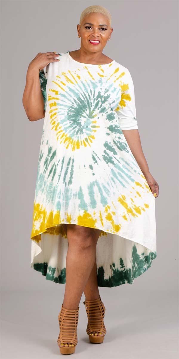 Vasna 20195854-Mustard / Multi - Womens Tye-Dye High-Low Design Dress