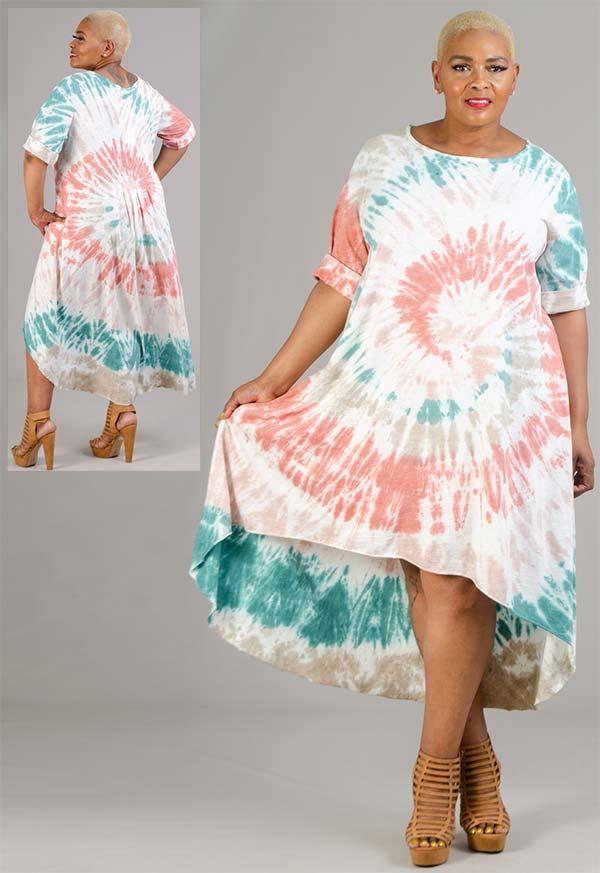 Vasna 20195854-Coral / Multi - Womens Tye-Dye High-Low Design Dress