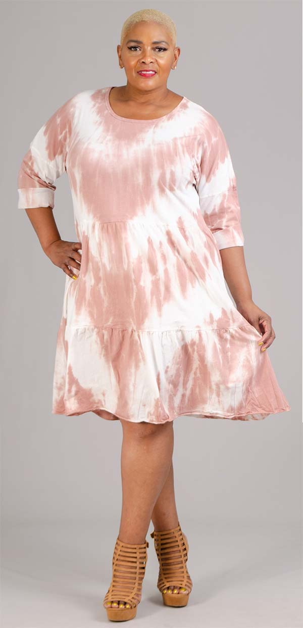 Vasna 201982X54 - Womens Tye-Dye Tiered Design Three-Quarter Sleeve Dress