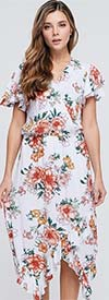 Velzera VLRD1377 - Womens Short Sleeve Floral Print Midi Dress