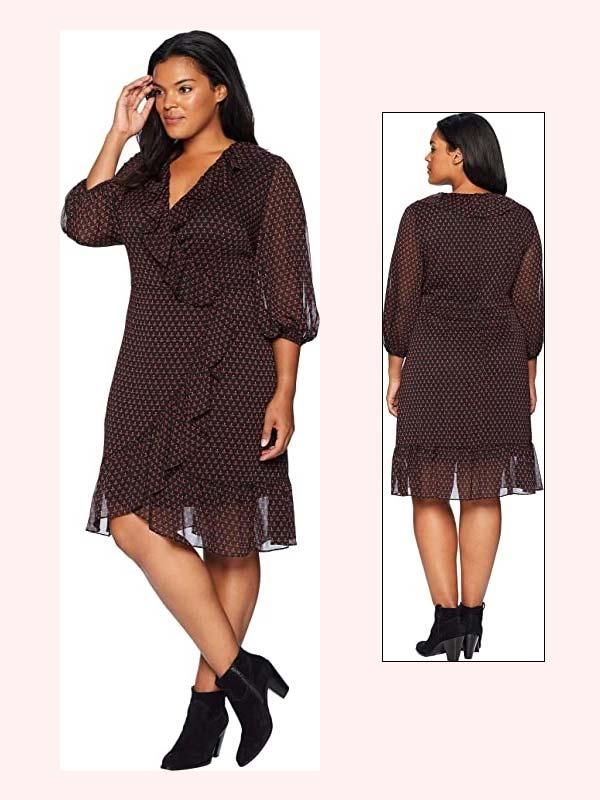 Adrianna Papell AP1D102559 - Womens Ruffled Mock Wrap Dress