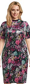 Adrianna Papell AP1D102581 - Ladies Floral Print Velvet Dress