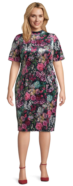 Adrianna Papell AP1D102581 - Ladies Floral Print Velvet Dress