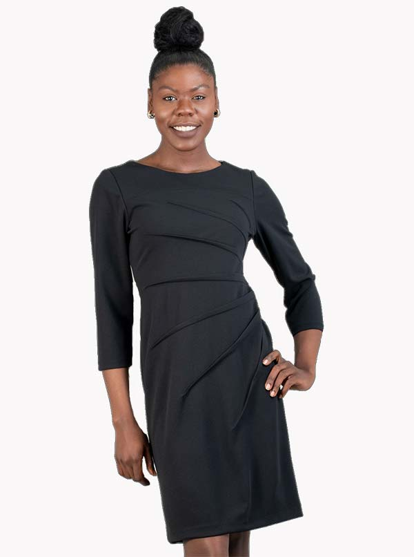 Allen-Kay-785839 Womens Knit Side Gather Style Dress With Three Quarter Sleeves