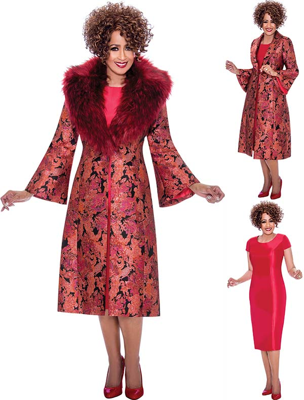 DCC - DCC2232 Short Sleeve Dress With Long Floral Jacket & Removable Fur Collar
