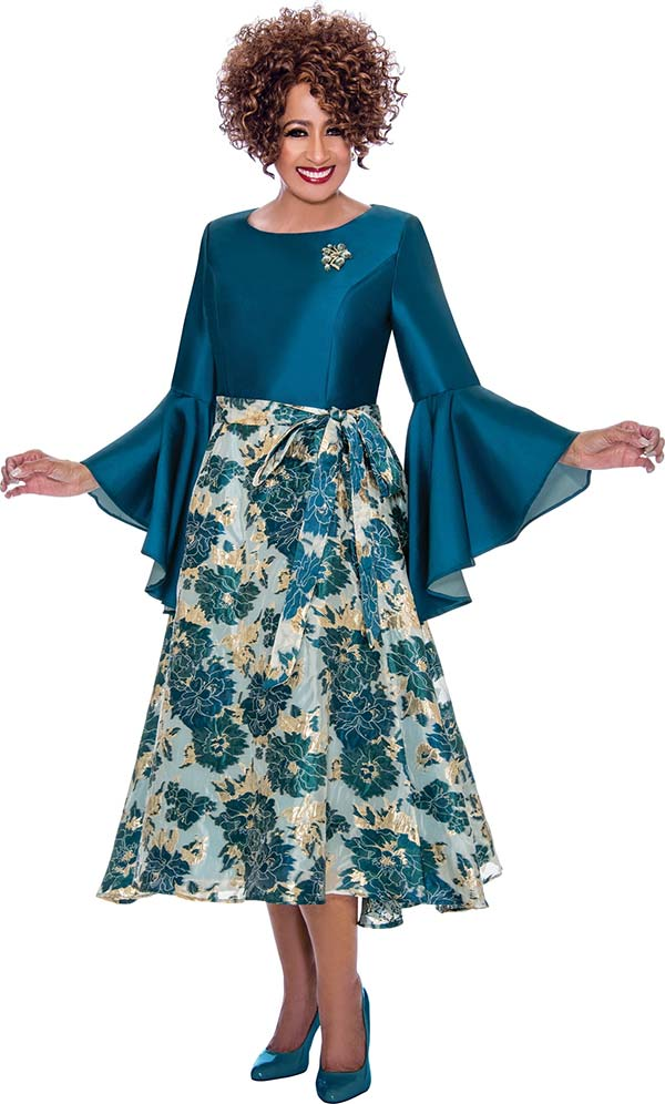 DCC - DCC2221 Womens Solid Bodice & Floral Design Pleated Dress With Flounce Cuff Sleeves