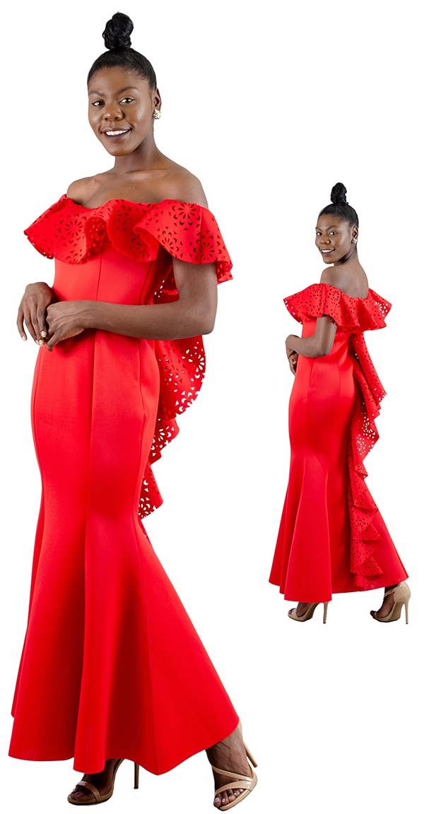 FT Inc D0044 - Womens Off-The-Shoulder Neckline Dress With Cut-Out Ruffle Design