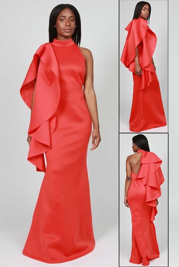 FT Inc RF051 - Womens Sleeveless Scuba Dress With Side Ruffle Design
