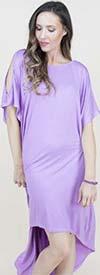 Fashion Apparel FT80032-Lavender - Ladies Cold Shoulder Jersey Knit High-Low Dress